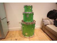 Mint Custom Drum kit (22x22 kick 16x14 tom 12x9 tom) Green sparkle