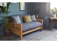 Futon Company OKE Sofa Bed Solid Oak 2 Seat +3 Panel Futon+Cover+2 Cushions Cost £1050 (Can Deliver)