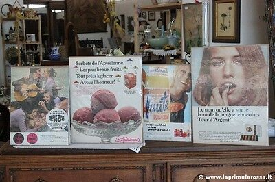 4 PUBBLICITA FRANCESI VINTAGE: DELESPAUL NESTLE  EVIAN  L'APTESIENNE ADVERTISING