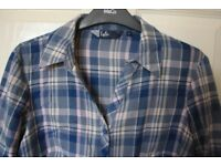 Blue and lilac plaid isle shirt size 10