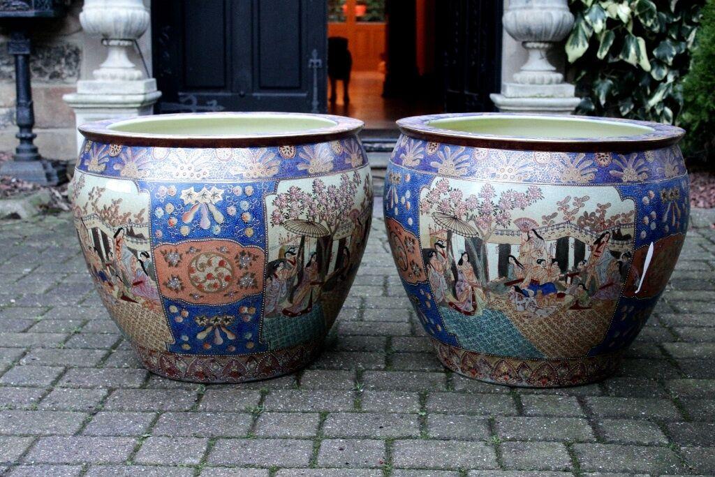 Very Large Pair Of Decorative Porcelain Planter Bowl