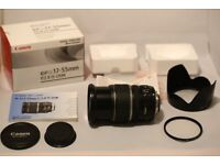 Canon EFS-17-55mm, Pre owned, Very good condition c/w pro uv filter