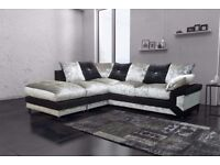 CORNER DINO 3+2 SEATER BLACK/SILVER CRUSHED VELVET SOFA | FOOTSTOOL | SWIVEL CHAIR