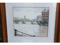 Vintage Framed Watercolour Bristol Bridge by Artist Carol Frarey Castle Park Original Painting Art