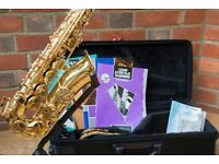 YAMAHA YAS-275 ALTO SAXOPHONE with case, stand, accessories & books - courier anywhere within UK