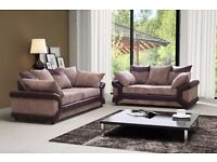 BRAND NEW ITALIAN JUMBO CORD DINO CORNER OR 3 + 2 SOFA BLACK/GREY AND BROWN/BEIGE