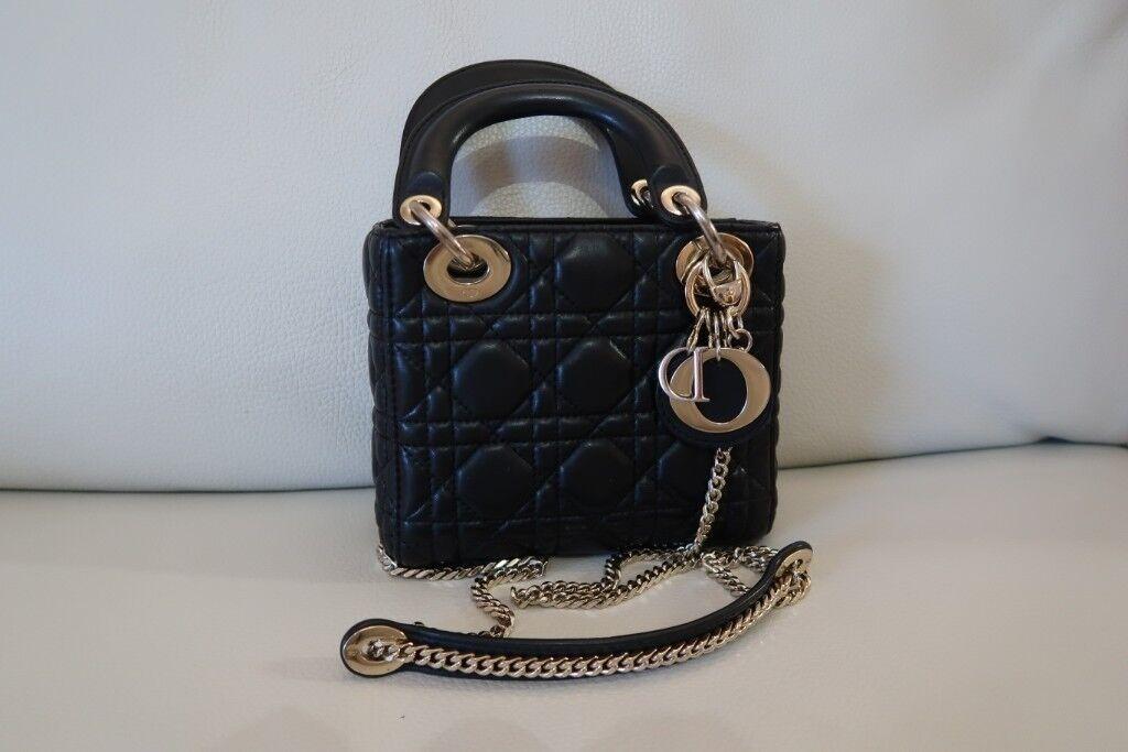 Christian Dior mini black lambskin Lady Dior handbag -pristine condition  RRP £2 c8e32446f9e69
