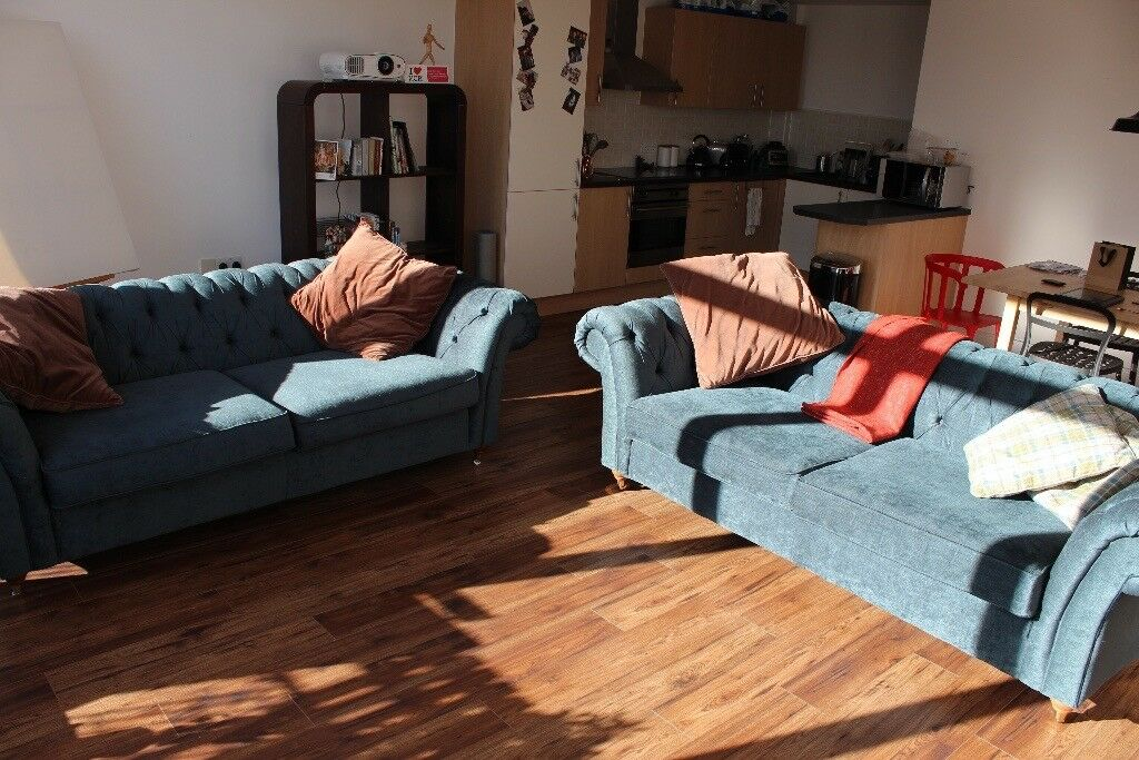 2 Large Chesterfield Sofas, Next