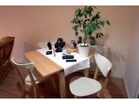 Solid wood Extendable Dining Table & 4 Ikea Nordmyra chairs