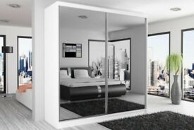 ORDER NOW FULLY MIRRORED TWO DOOR SLIDING DOOR WARDROBE BRAND NEW WE DO SAME OR NEXT DAY DELIVERY