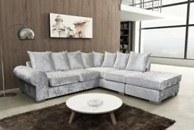 SOFA SALE PRICES : ROYAL CORNER SOFAS IN SILVER OR BLACK VELVET, WITH FREE MATCHING FOOT STOOLS