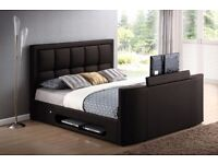 Black Leather Double Gas Lift TV Bed