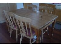 Pine table and four chairsx