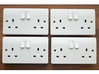 Pair of White MK 2747 13A 2-Gang DP Switched Wall Plug/Socket