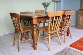 SOLID PINE 5 FT FARMHOUSE TABLE AND 6 CHAIRS - UK WIDE DELIVERY
