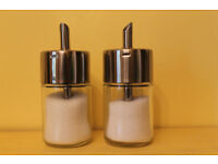 Sugar Dispensers - Pair of WMF Glass & Stainless Steel Sugar Dispensers