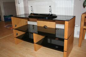 TV unit for sale - Blokk beech and glass unit