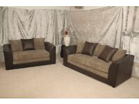 UK EXPRESS DELIVERY   DYLAN 3+2 SEATER JUMBO CORD BROWN/MOCHA SOFA   1 YEAR WARRANTY   SPRING BASE