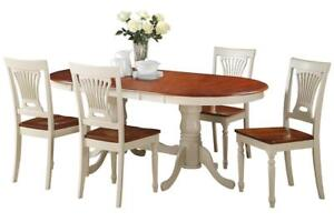 Princeton Five Piece Dining Set In Buttermilk And Saddle Brown