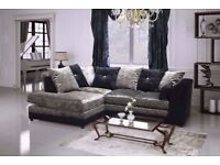 SAME DAY FAST DELIVERY ! NEW DYLAN CRUSH VELVET CORNER OR 3 AND 2 SEATER SOFA IN DIFFERENT COLOURS