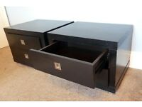 "Pair of Black Low Level Bedside Cabinets/ Bedside Tables & 2 drawers H17""(43cm)W22""(56cm) D17""(43cm)"