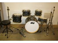 PDP Pacific (DW) CX Series Black Onyx 5 Piece Drum Kit (22in Bass) + stands + stool + cymbal set