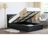 DOUBLE LEATHER STORAGE OTTOMAN GAS LIFT UP BED FRAME ON SPECIAL KING OFFER SIZE
