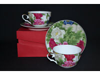 PORCELAIN SET OF 2 CUPS AND 2 SAUCERS, TEA CUP, COFFEE CUP