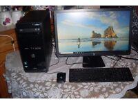 HP PC & Monitor Package 23 inch 1080p AMD Athlon II 4GB RAM 500GB Windows 10 NVIDIA Graphics