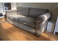 John Lewis 3 seater sofa + armchair, beige/brown/neutral fabric, good used condition.