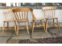Four Solid Pine Farmhouse Dining Chairs