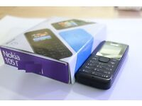 NOKIA 105 MOBILE PHONE BLACK UNLOCKED SIM FREE BOXED SINGLE SIM