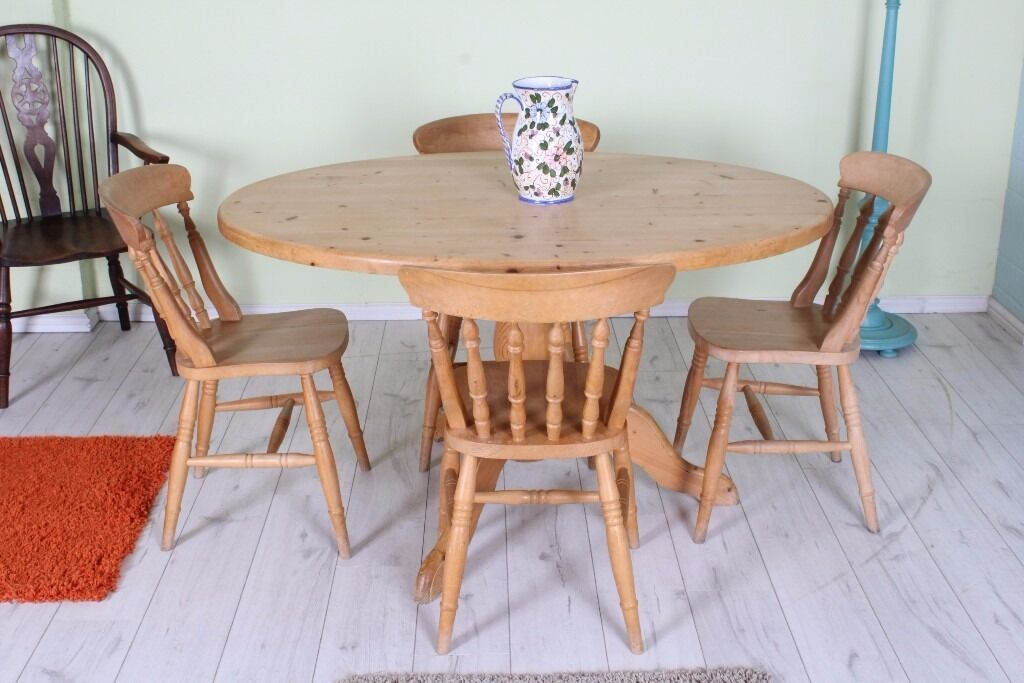 LOVELY OVAL WAXED SOLID PINE COUNTRY KITCHEN TABLE 4 CHAIRS - CAN COURIER