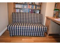 Sofa Bed 2 - 3 seater / double bed - blue and cream check