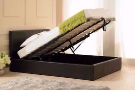 💗💖ITALIAN FAUX LEATHER Brand New Gas Lift Storage Ottoman Leather Bed w Memory Foam Mattress