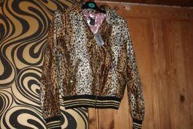 Hot Topic Leopard Print Zip Up Jacket Hoodie
