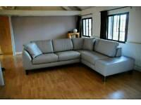 Grey leather corner sofa Italsofa Miami by Natuzzi - Italian, great condition