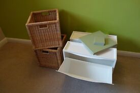 Ikea baskets, shoe storage and place mat set