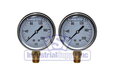 Liquid Filled Pressure Gauge 0-200 Psi 2-12 Face 14 Lm Single Scale