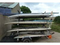 8 windsurfers of various lengths complete with trailer