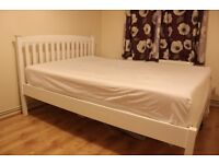 White Wooden Double Bed w/Mattress and Five Inch Foam Mattress Topper
