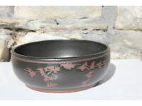 Unusual Large Handmade Studio Pottery Fruit Bowl Signed Flower Art Pottery Dish Date 1983