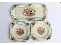 Vintage Minton HandPainted Sandwich Set 2 Side Plates Serving Tray Flowers Saucer Decorated Antique