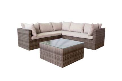 WICKER OUTDOOR FURNITURE MODULAR CORNER LOUNGE CHOICE OF COLOURS
