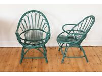 A pair of green bamboo rattan vintage retro mid century armchairs