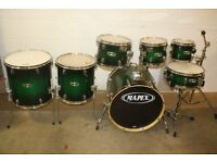 Mapex M Series - Apple Green to Black Burst - 7 Piece Shell Pack (20in Bass Drum) ~ Drums Only