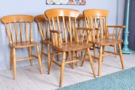DELIVERY OPTIONS - SET OF 6 SOLID BEECH FARMHOUSE CHAIRS INCL 2 CARVERS