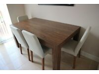 NEXT Walnut dining table with 4 cream fabric chairs