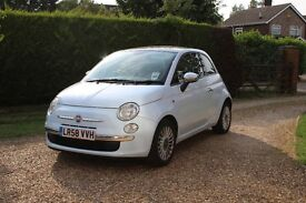 Fiat 500 1.2 Lounge 3dr, Unique blue colour with a leather brown interior and Sunroof, £30 road TAX