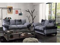 3 AND 2 SEATER SOFA AND FABRIC CORNER SOFA AVAILABLE IN 2 COLOUR BLACK AND GREY